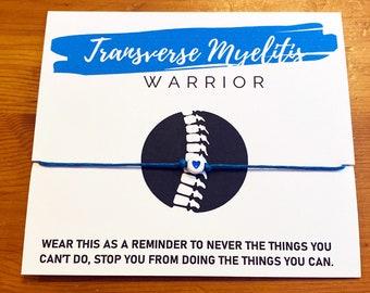 Transverse Myelitis Warrior Bracelet   Transverse Myelitis Awareness Bracelet Blue   Neurological Disorder, Chronic Pain   TM Spoonie