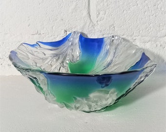 Art Glass Bowl in Green And Blue With White Leaves In Relief Work