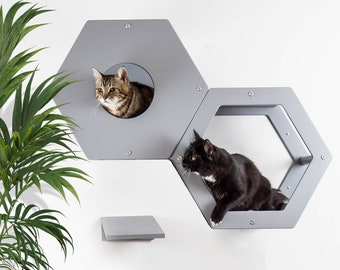 Cat wall furniture with step Сat tree house + step Cat play furniture Wooden cat shelves Modern cat tree Luxury cat bed Cat shelves Cat beds