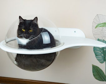 Bubble for cat Spaceship Cat hammock bed Elegant wall shelf Modern cat shelf Unique gift for cat lovers Cat furniture modern Cat wall bed