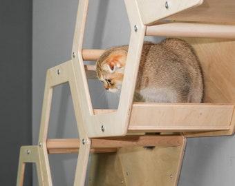 Cat tower + Free Step Cat Tree Best cat perch Cat hammock Cat shelf Cat bed modern  Cat furniture wall  Cat tree furniture Home for cats