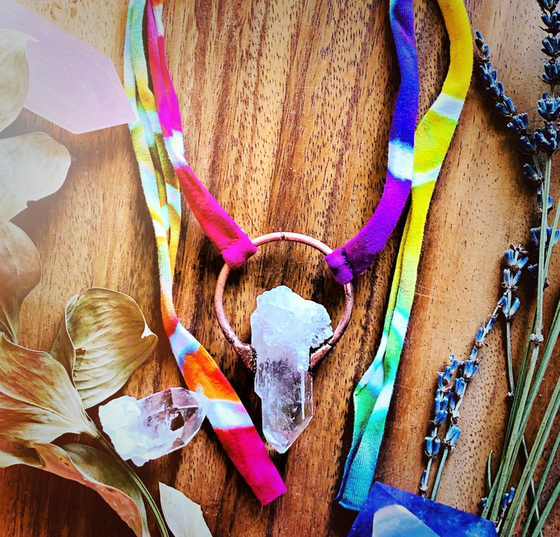 Quartz Pendant on Rainbow Tie Dyed Ribbon Electroformed Copper