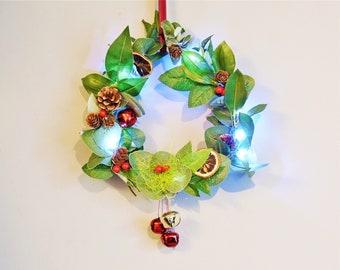 Christmas wreath with fairy lights Decoration, Door wreath handmade  Artificial Wreath, Front door Christmas Decor  Festive wreath