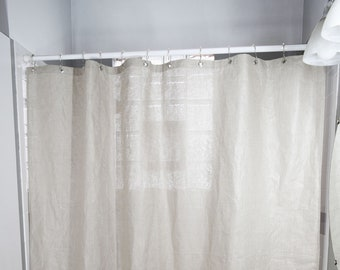 Natural Linen Shower Curtain   All Sizes   Made In USA