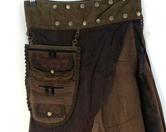 Old Brown Steampunk wrap Skirt in Cotton. Pagan Long Skirt, Celtic, Pixie, Gothic, LARP, Victorian with Purse