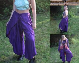 Purple Palazzo Harem Pants. Women's Wrap trousers, split, open leg with Tulip hem. Very Chic and Stylish.