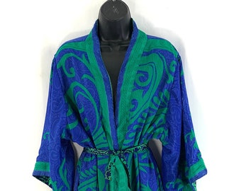 UK M/L. Luxury Reversible Silk Robe with deep inseam side pockets. A perfect Duster to gift to your loved one .