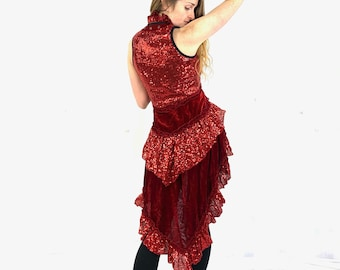 Sophia Sequin Red Party Dress. Showgirl Ring Master Circus outfit. Burlesque Lush Velvet