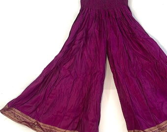 Juliana Plus Size Culottes. Silk Brocade with XL elasticated waist for a fuller figure. Palazzo Pants, Wide Leg