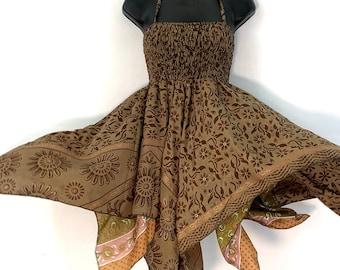 "Isla Fairy Dress. One size in Silk. Length 71cm (28""), Boho, Princess, Goddess, Summer festival, Hippie Skirt"