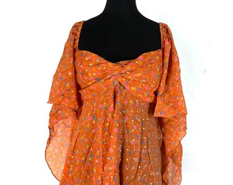 Boho Floaty Top, Silk. Forest, Fairy, Pixie, Blouse, Womens Summer Top Free Size.