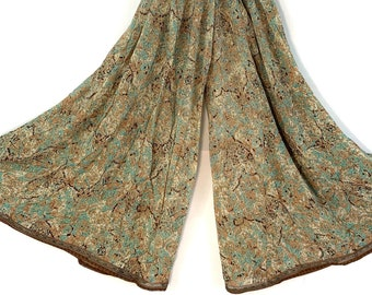 Eloise Culottes. Summer Silk, One size with Elasticated Waist. Palazzo Pants, Wide Leg, Flow pants