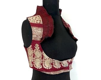 UK-L. Underbust Corset Choli. Silk. Steampunk, Tribal, Pagan, Gothic, Larp, Goth, Goa top