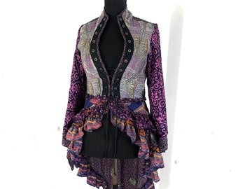 UK-L. Seraphina Corset Dress with Sleeves. Silk in Pink  & Blue, Flamenco style, Tribal, Pagan, Goa, Renaissance.