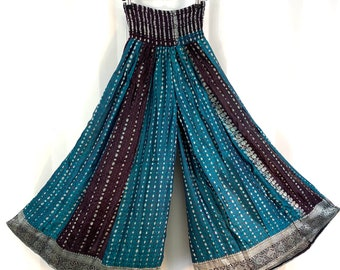 Elasticated Waist Culottes. Purple with silver SALE- Reduced due to slight marking Silk Brocade One size Palazzo Pants