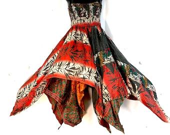 Plus size Fairy Dress. Silk. One size. B.  Summer, festival, hippie, boho, gypsy princess, pretty handkerchief skirt.