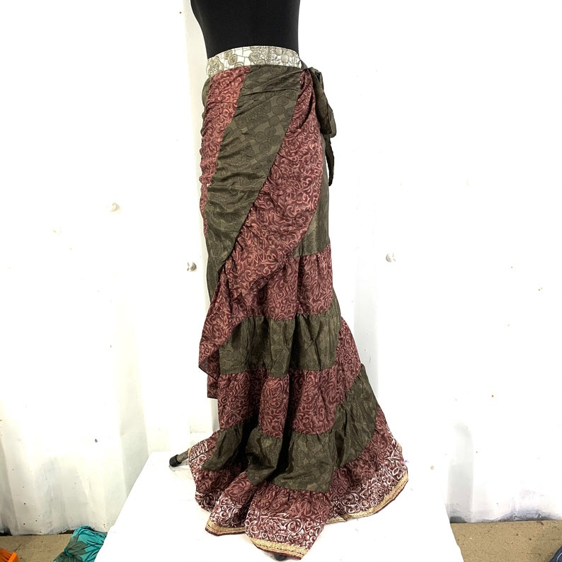 Gypsy Wrap Long Silk Skirt Layered Bohemian Style Flamenco Hippie One size Can be worn as a dress Bellydance