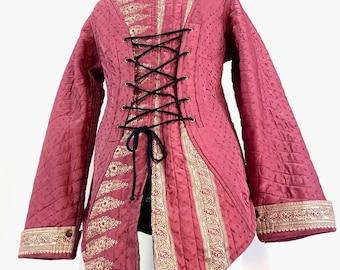 UK- M Pink Silk Brocade Tailcoat. Unisex & Unique. Fleece lining.