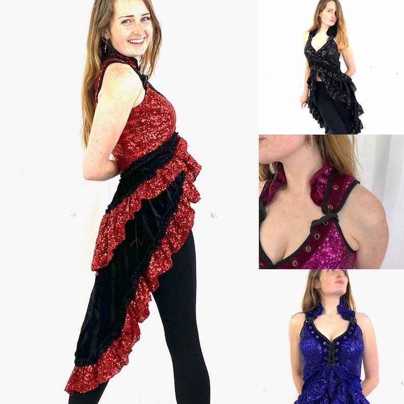 Ringmaster Red Black Sequin & Velvet Showgirl Corset Dress. image 0