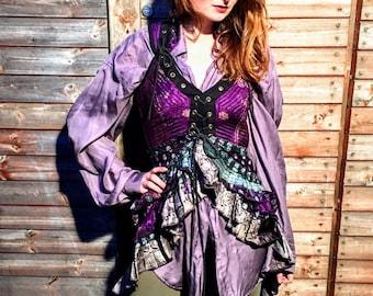 UK-L. Sophia Corset Dress. Silk brocade in Purple & Silver, Flamenco style, Steampunk, Tribal, Pagan, Fantasy, Goa