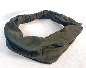 Green Cotton Washable Headband Face Mask. Eco fair trade dust mask, bandana, scrunchies.based in UK