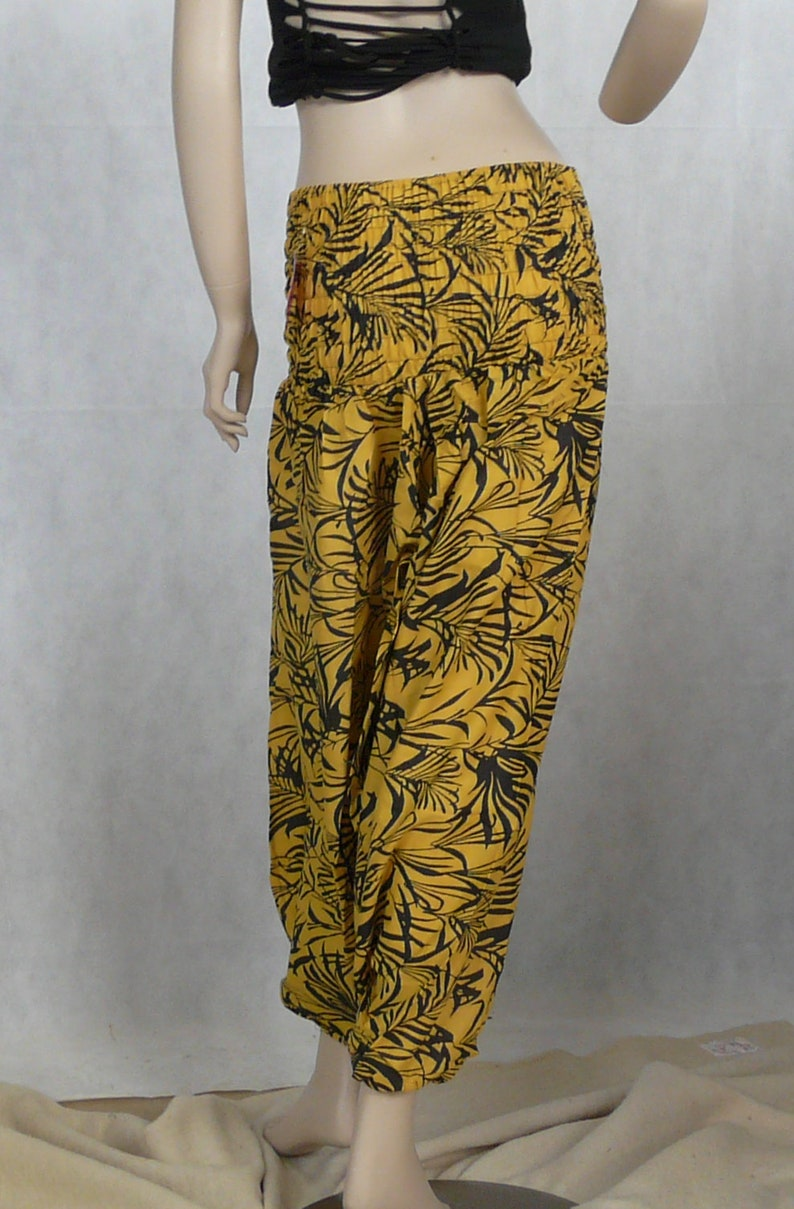 unisex loose hippy multi-coloured cotton comfortable Hareem Trousers Yellow Leaf Print afghan elasticated ali baba