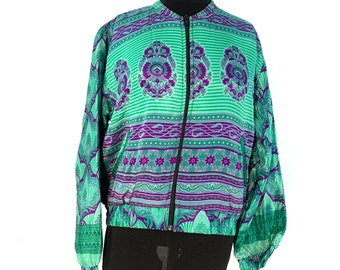 Silk Bomber Jacket with a light fleece cosy lining. One size.  Disco, Dance, Rave, Bike, Pub, Club, Park, Walk,