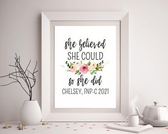 She believed she could so she did printable Black white minimalist wall art print Inspirational typography Dorm decor Teen 5x7 8x10 16x20