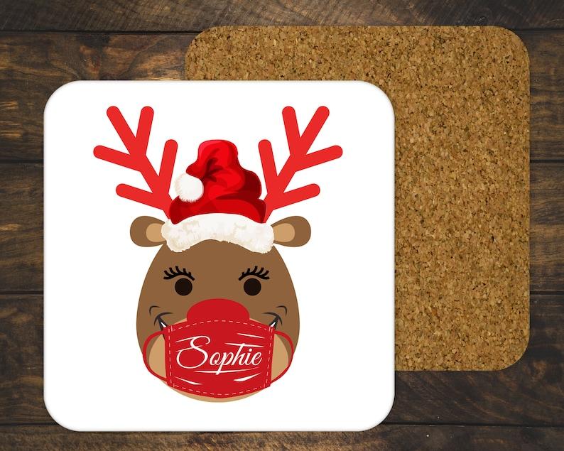 Personalized Reindeer Coaster Christmas 202 Coaster Set Reindeer Mask Gift Covid2020 Cork Coasters