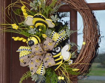 Bee Wreath Bee Happy Black,Yellow and White Summer Wreath XL Spring Wreath Welcome Bee Bumblebee Wreath Welcome Wreath