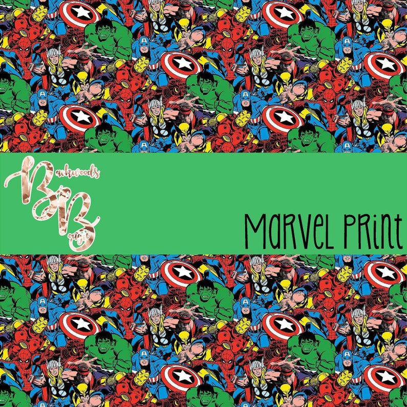 Marvel print vinyl and heat transfer vinyl in 6x6 samples 12x12, 12x24,  12x36 sheets and 5 yard rolls indoor outdoor and htv iron on