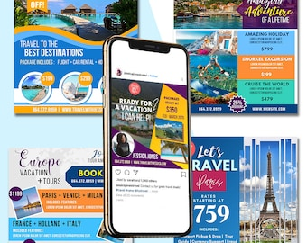 Travel Agent Template - Editable Template use on Canva - Easily insert your brand logo and color - 5 Designs - Facebook Instagram