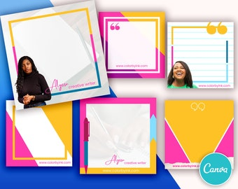Writer Themed Social Media Instagram Backgrounds - Canva Template - Set of 6 Designs