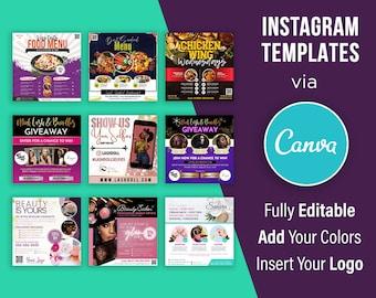 Instagram Flyers - Editable - Canva Template - Set of 9 Designs