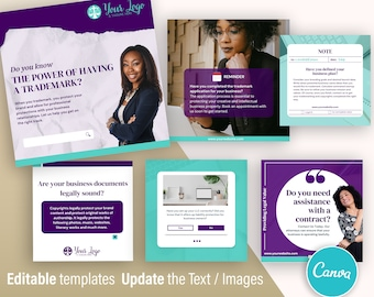 Lawyer Attorney Legal Canva - Social Media Feed Branding - Canva Template - Set of 6 Designs