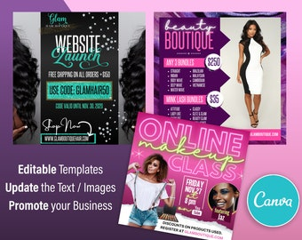 Glam Promo, Makeup, Beauty, Hair Instagram Flyers - Canva Template - Set of 3 Designs