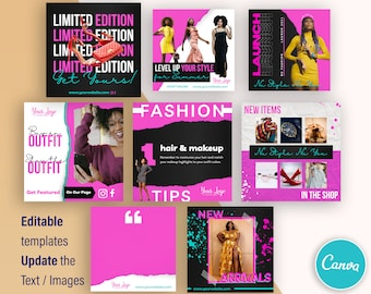 Fashion Products Accessories Business Branding - Canva Template - Set of 8 Designs