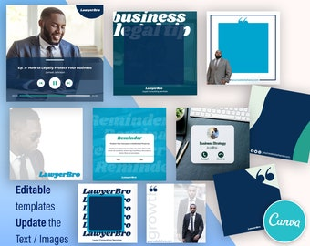 Consultant Themed Lawyer Accountant Legal Social Media Branding - Canva Template - Set of 10 Designs