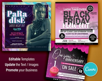 Black Friday, Event, Anniversary Instagram Flyers - Canva Template - Set of 3 Designs