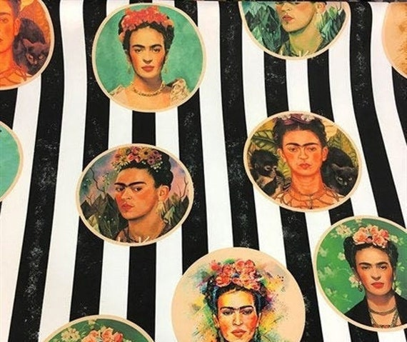 POP ART Faces Frida Women Faces Floral  Print Fabric printed fabric