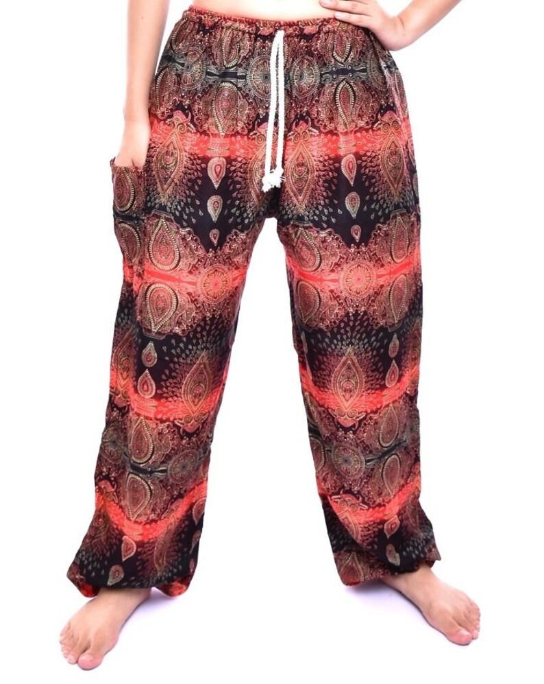 20-42 inch Waist Bohotusk Mens Red Teardrop Print Tie Waist Harem Pants One Size Donation to Elephant Sanctuary with Sale