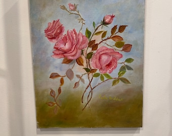 Hand painted vintage pink rose painting on canvas