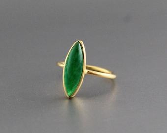 Green Jade Ring - Handmade Ring - Proposal Ring - Statement Ring - Jade Jewelry - Gold Ring - Stacking Ring - Marquise Shape Ring