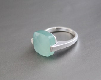 Blue Chalcedony Ring *Wedding Rings *Rings for Girls* Organic Ring*Statement Rings*Gemstone Rings*on sale*March Birthstone Rings VR-263