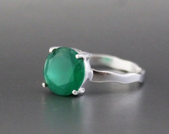 UK size N USA size 6.5 Boho Silver Plated Natural Stone Gemstone Green /& White Moss AGATE Ring Women/'s Natural Stone Ring Birthday Gift