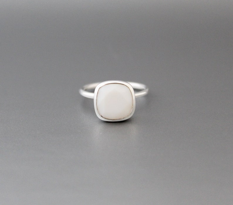 Bridesmaid Gift Minimalist Ring White Agate Ring Stacking Ring Bezel Set Ring White Gemstone Ring