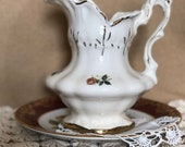 Delightful Vintage IRONSTONE Pitcher Victorian Style 1970s
