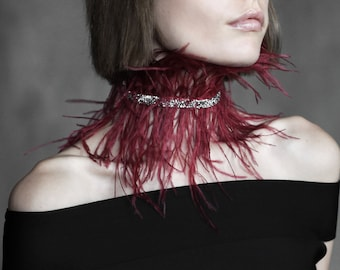 Dark red feather choker collar with rhinestones  crystal choker necklace  marsala ostrich feather necklace  wide maroon BDSM neck piece