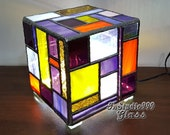 Stained glass cube night light, bedroom ornament for bedside decor, night lamp, stained glass art, glass decoration, decorative cube