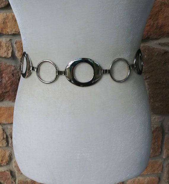 Metal Chain Link Nine West 1990/'s Silver Metal Round Circle Loops Vintage Belt Retro Adjustable